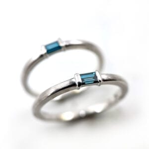 Blue baguette diamond ring