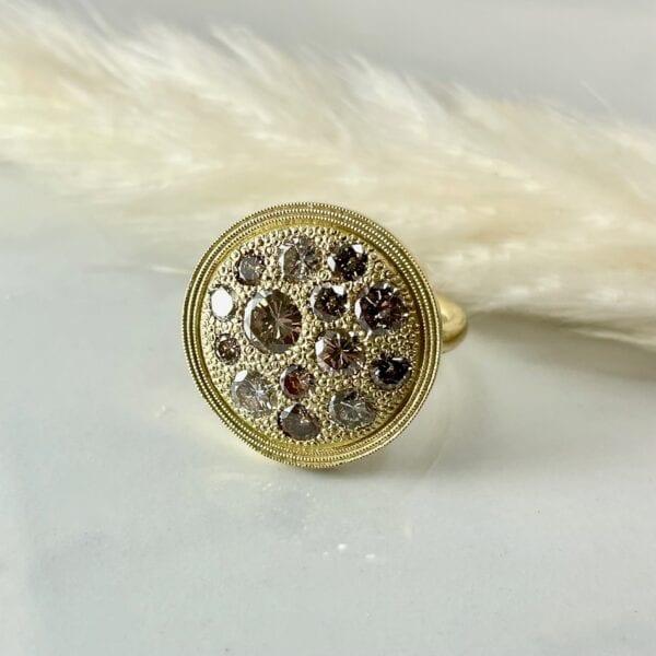 Champagne diamond disc ring