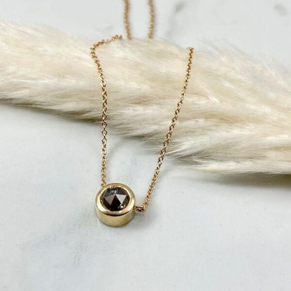 Rose cut diamond pendant necklace