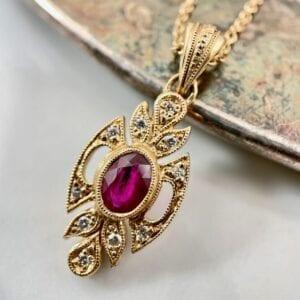 Oval ruby pendant necklace