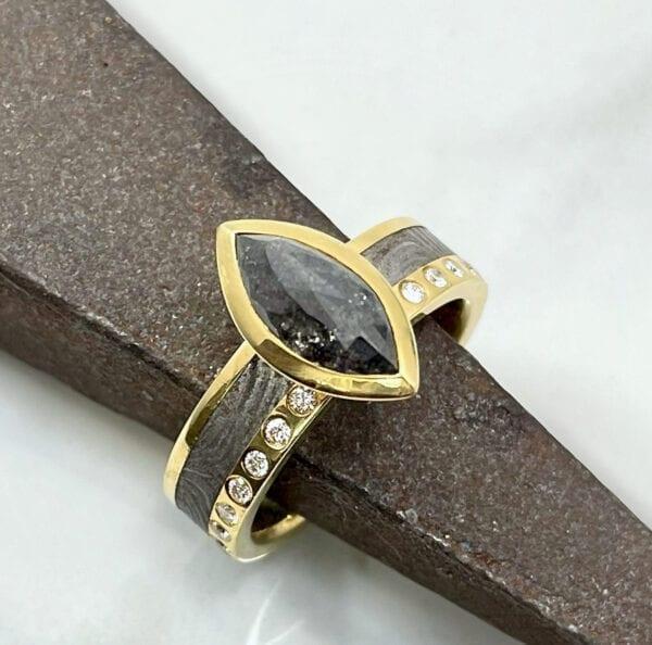 Black diamond marquise ring