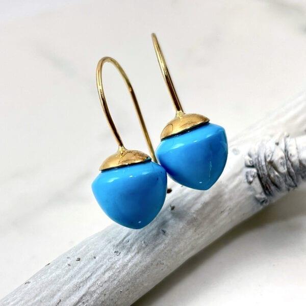 Turquoise Shepard Hook Drop Earrings