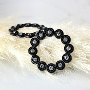 Blackened silver diamond earrings