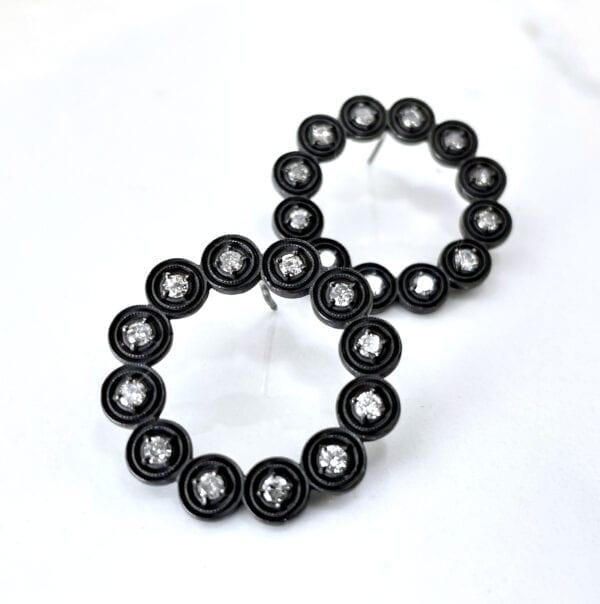 Black silver diamond earrings