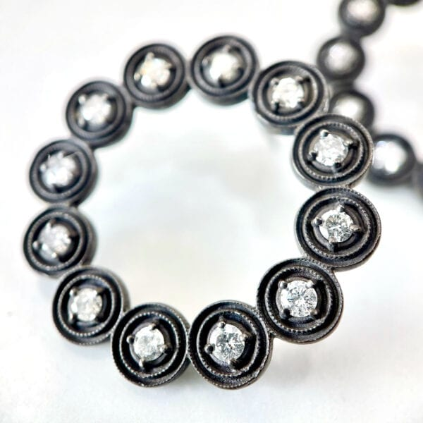Black silver diamond fashion earrings