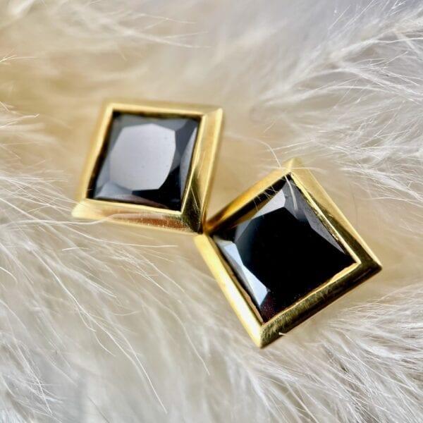 Square black diamond stud earrings