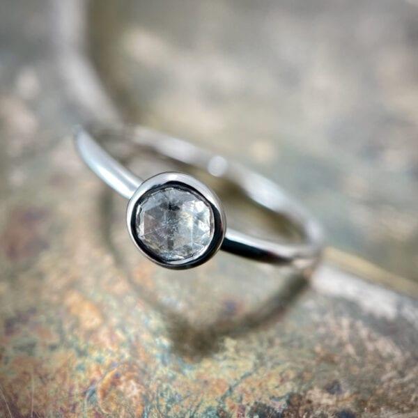 rose cut diamond stacking ring
