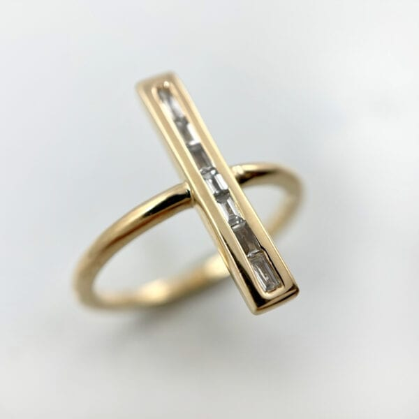 Channel set diamond bar ring