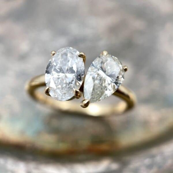 Oval pear diamond ring