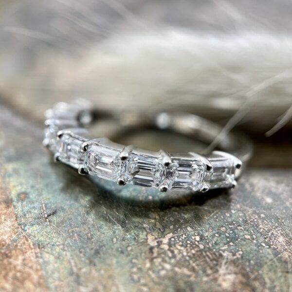 Emerald cut diamond band