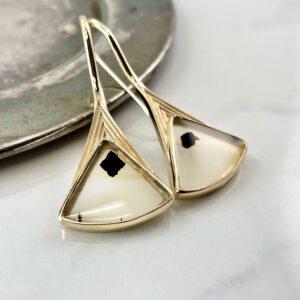 Agate fan shaped earrings