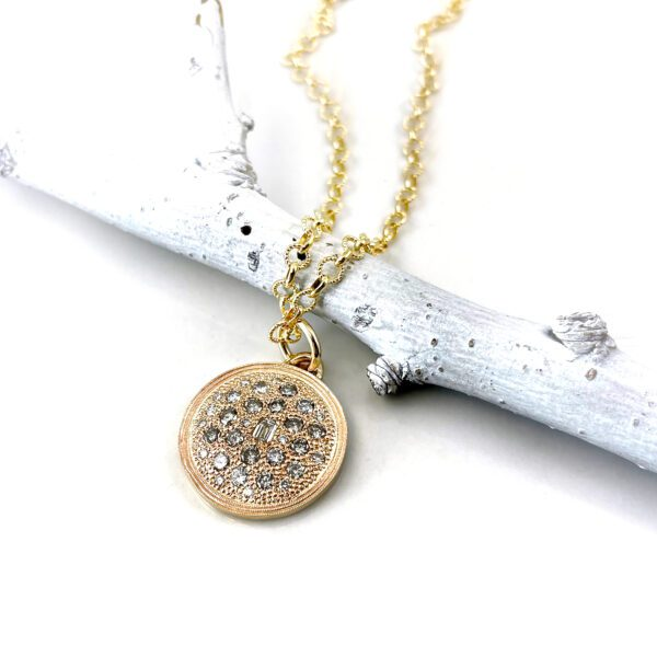 Yellow gold diamond disc pendant