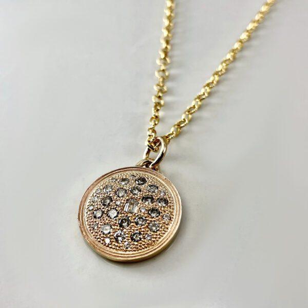 Gold diamond disc pendant necklace