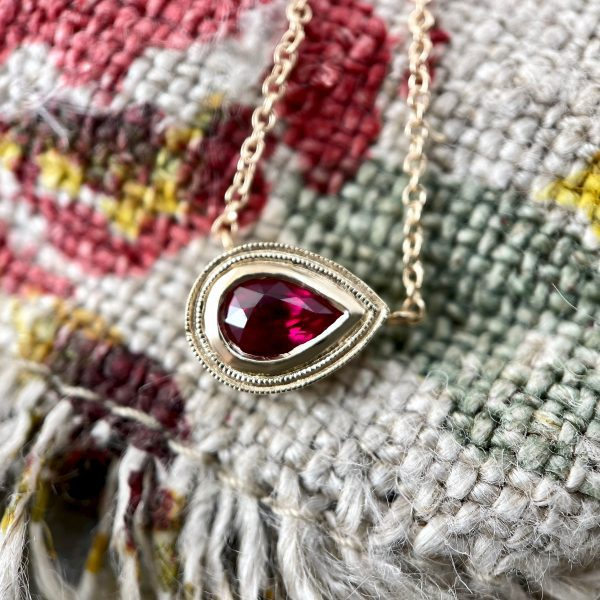 Pear shaped ruby necklace