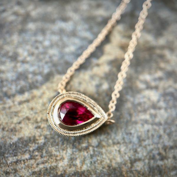 Pear shaped ruby pendant